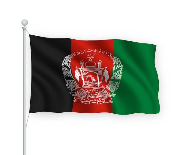 Ondeando la bandera de afganistán en el asta de la bandera aislado en blanco