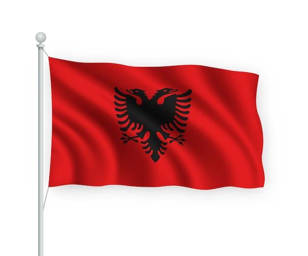 Ondeando la bandera de albania en el asta de la bandera aislado en blanco