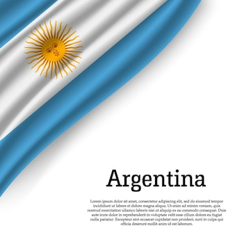 Ondeando la bandera de argentina en blanco