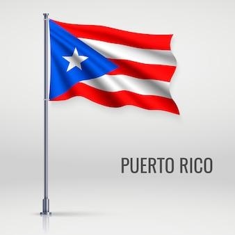 Ondeando la bandera en asta de bandera