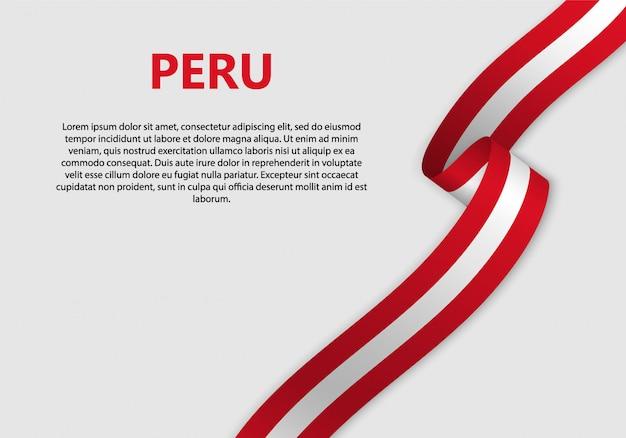 Ondeando bandera de bandera peruana