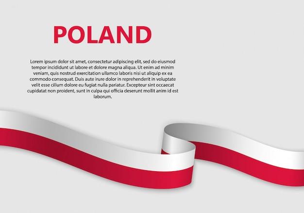 Ondeando bandera de bandera de polonia