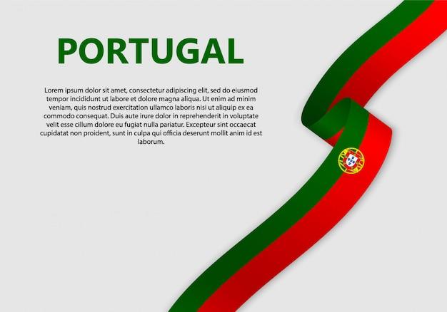 Ondeando bandera de bandera de portugal