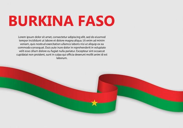 Ondeando la bandera de burkina faso, ilustración vectorial