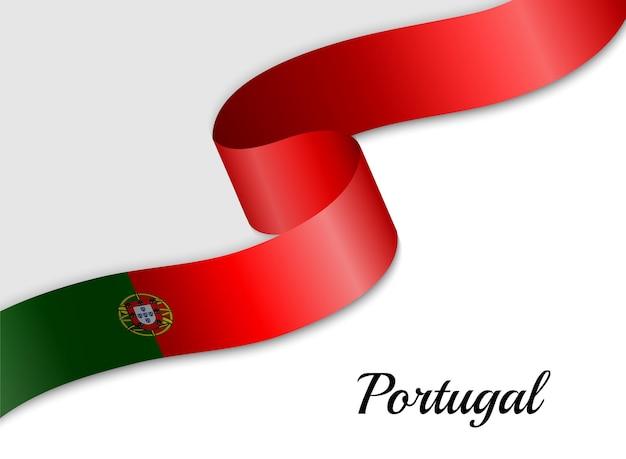 Ondeando la bandera de cinta de portugal