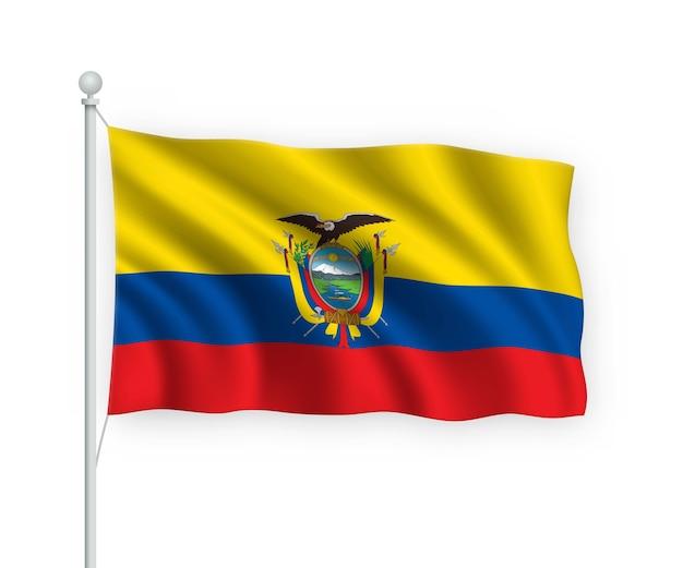 Ondeando la bandera de ecuador en el asta de la bandera aislado en blanco