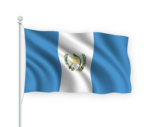 Ondeando la bandera de guatemala en el asta de la bandera aislado en blanco