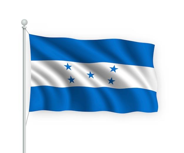 Ondeando la bandera de honduras en el asta de la bandera aislado en blanco