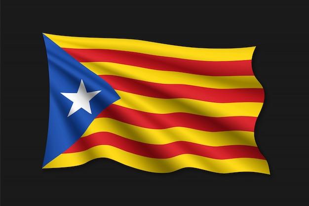 Ondeando la bandera del independentista catalán