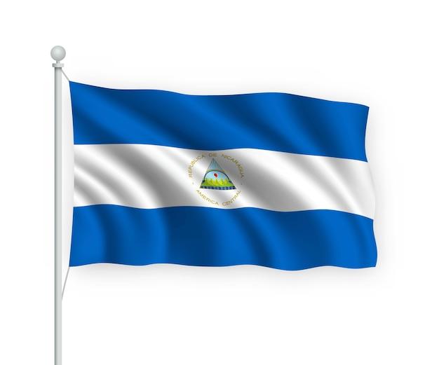 Ondeando la bandera de nicaragua en el asta de la bandera aislado en blanco
