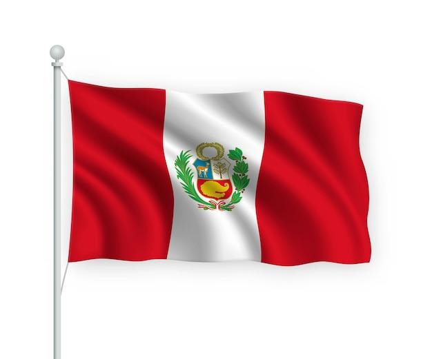 Ondeando la bandera de perú en el asta de la bandera aislado en blanco