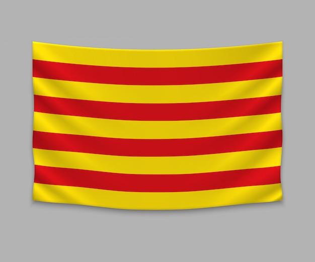 Ondeando la bandera de plantilla de cataluña