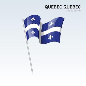 Ondeando la bandera de quebec, provincias de quebec de canadá aislado sobre fondo gris