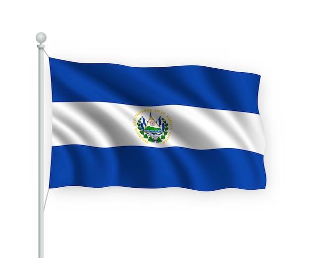 Ondeando la bandera de el salvador en el asta de la bandera aislado en blanco