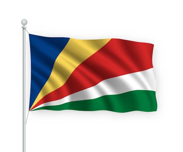 Ondeando la bandera de seychelles en el asta de la bandera aislado en blanco