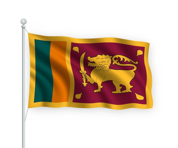 Ondeando la bandera de sri lanka en el asta de la bandera aislado en blanco
