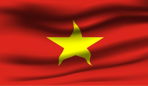 Ondeando la bandera de vietnam. ondeando la bandera de vietnam de fondo abstracto