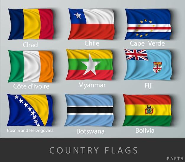Ondear la bandera del país con sombras y tornillos
