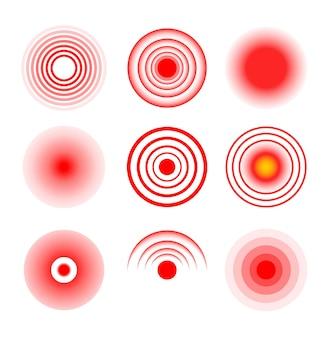Ondulación del vector médico del círculo de destino rojo. lugar de lugar dolorido. símbolo de la terapia de ondas, dolor, dolor, blanco, rojo.