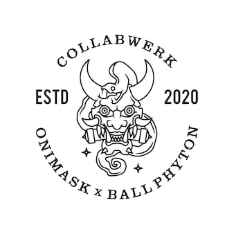 Oni mask ball phyton line logo icono ilustración