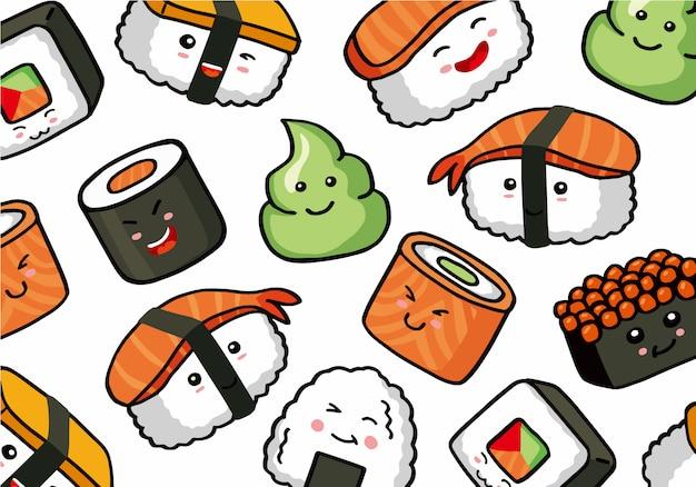 Onigiri y sushi patrón de doodle inconsútil