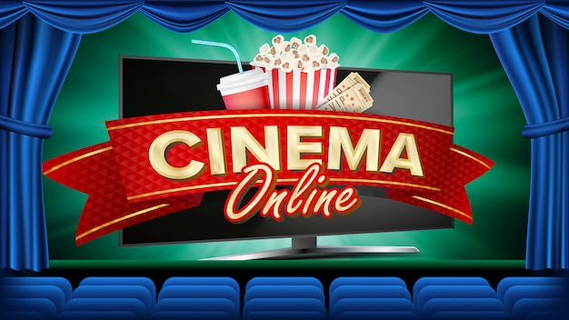 Online cine banner vector. monitor de computadora realista. estreno de la película, espectáculo. cortina azul teatro. márketing