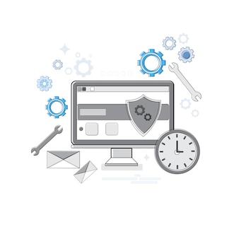 Online security data protection web technology banner ilustración de vector de línea delgada
