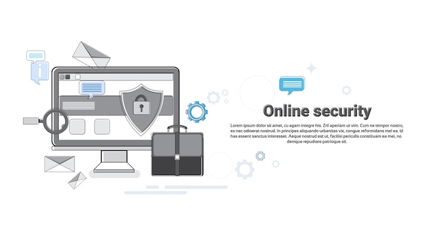 Online security data protection web technology banner vector illustration