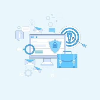 Online security data protection web tecnología delgada línea vector illustration