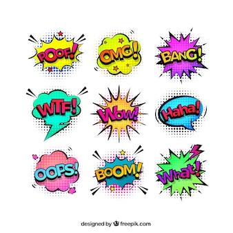 Onomatopeyas de cómic con estilo pop art
