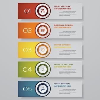 Opción banner de 5 pasos para su presentación.