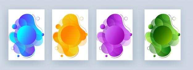 Opción de cuatro colores de resumen de arte fluido con fondo geométrico