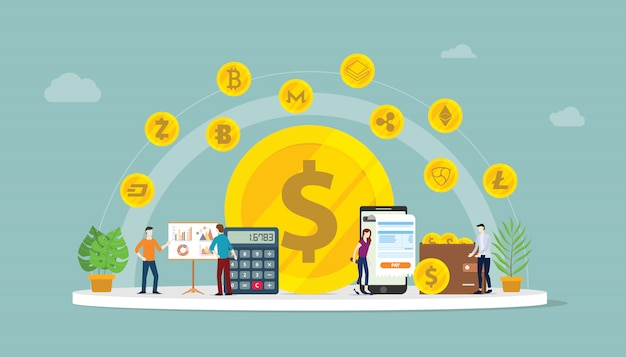 Opción de dinero de negocios de criptomoneda