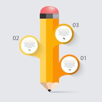 Opción de infografía de escalera de lápiz de educación empresarial.