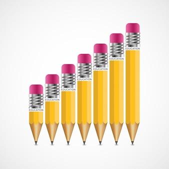 Opción de lápiz de educación plantilla de diseño de infografías.