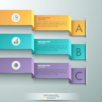 Opción moderna infografía banner con 3 cintas.