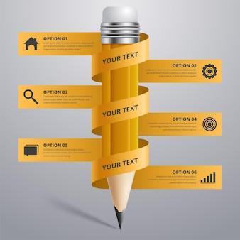 Opción de paso de infografías de lápiz de educación