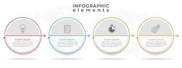Opción de plantilla 4 círculos de línea de tiempo infografía, estilo moderno.