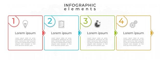Opción de plantilla de línea de tiempo 4 infografía, estilo moderno de línea delgada.
