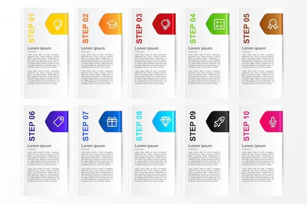 Opción de tarjeta de infografía diez colores para plantilla de negocio