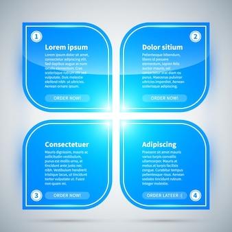 Opciones azul infografía