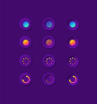 Opciones de botones para el kit de elementos de la interfaz de usuario multimedia