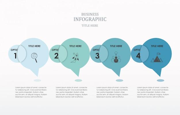 Opciones de círculo infografía conversación número.