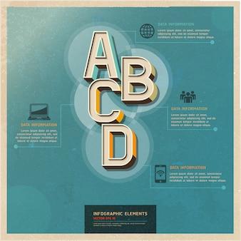 Opciones de color retro diseño de flujo de trabajo, diagrama, infografía.