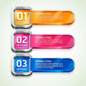 Opciones coloridas del número del estilo del sitio web botones banner y tarjeta de fondo.
