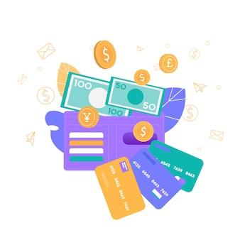 Opciones convenientes de almacenamiento de dinero seguro banner plano