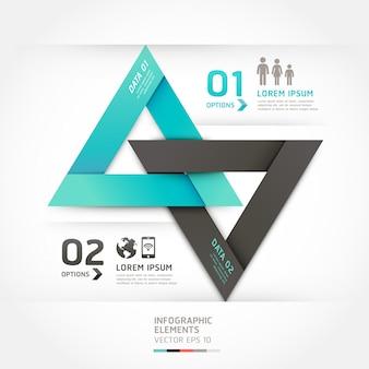 Opciones de estilo de origami de flecha moderna. diseño del flujo de trabajo, diagrama, opciones numéricas, opciones de mejora, diseño web, infografías.