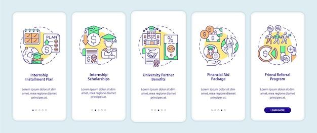 Opciones de financiación de programas de pasantías que incorporan la pantalla de la página de la aplicación móvil. tutorial de la beca instrucciones gráficas de 5 pasos con conceptos. ui, ux, plantilla de vector gui con ilustraciones en colores lineales