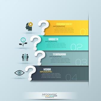 Opciones de infografía cinta moderna pregunta