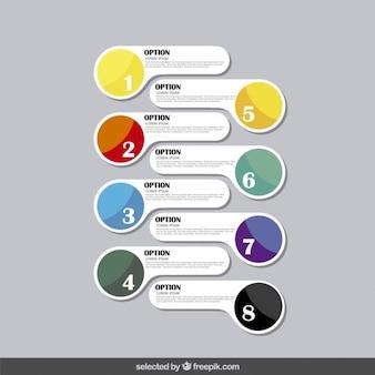 Opciones infografía dibujada a mano en estilo moderno